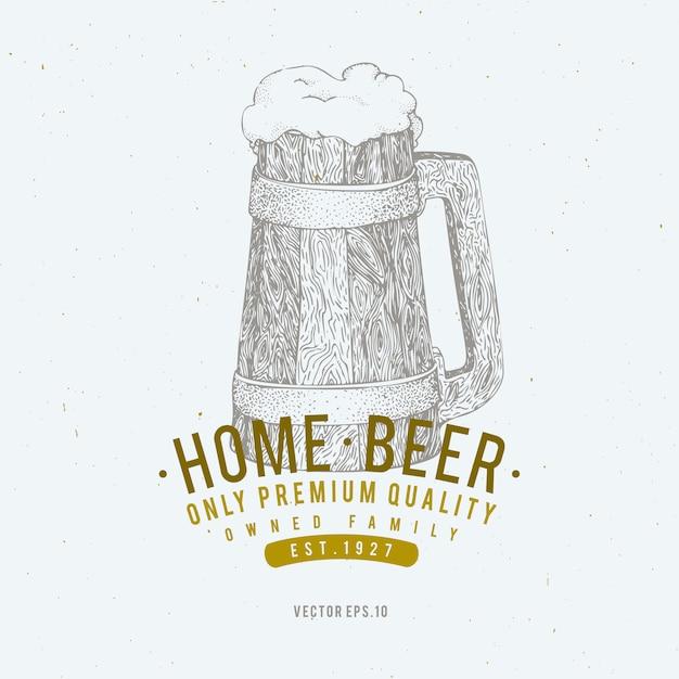 ビールのロゴのテンプレート。ベクトル手描きビールジョッキイラスト。 Premiumベクター