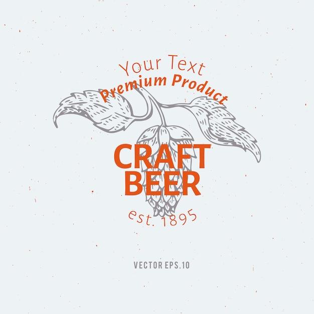 ビールのロゴのテンプレート。ベクトル手描きホップ支店イラスト。 Premiumベクター