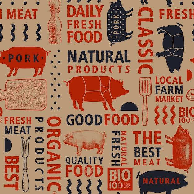 活版印刷のベクトルの肉屋のシームレスパターン。 Premiumベクター