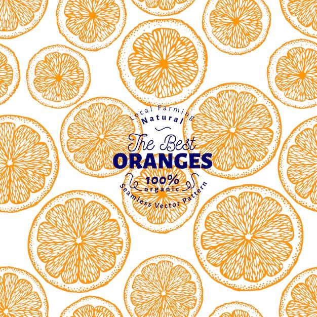 オレンジ色のシームレスパターン Premiumベクター