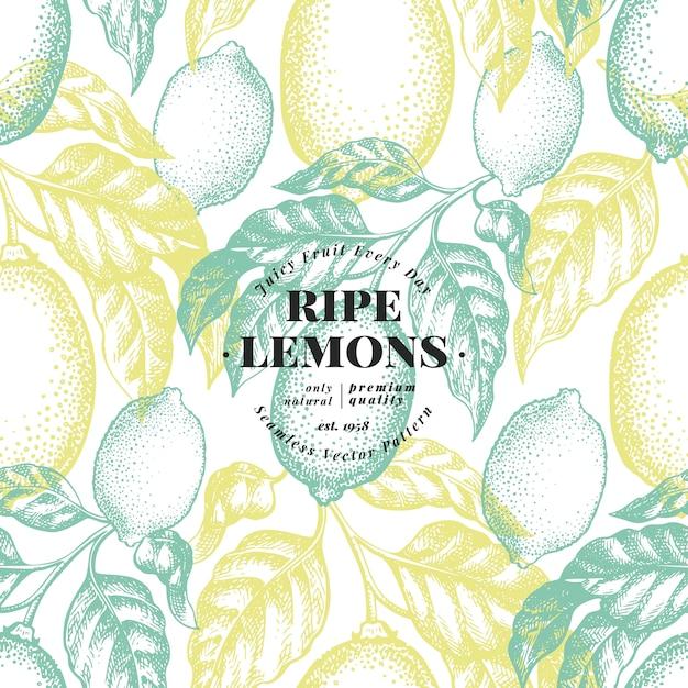 レモンの木のシームレスなパターン。 Premiumベクター
