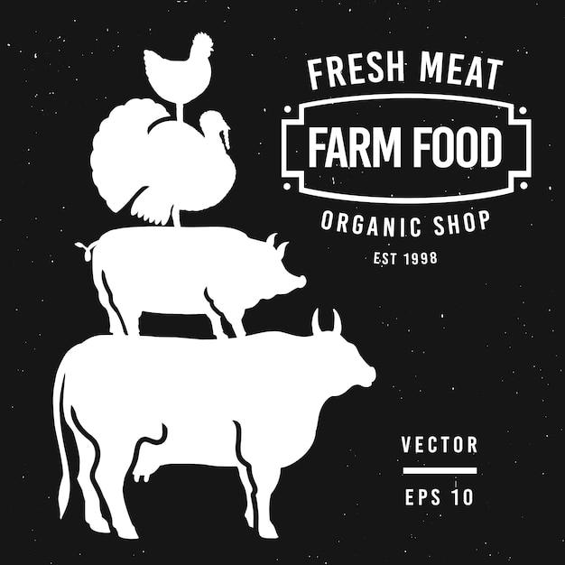 Набор этикеток мясного магазина и элементов дизайна Premium векторы