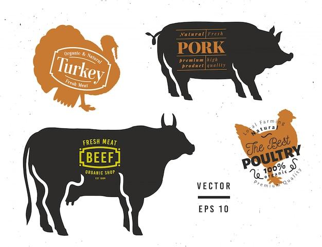 Бык, свинья, индейка, курица силуэты. набор элементов мясной магазин. Premium векторы