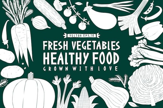 漫画手描き野菜の背景。緑と白のグラフィック Premiumベクター