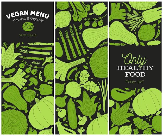 手描き野菜テンプレートのセット Premiumベクター