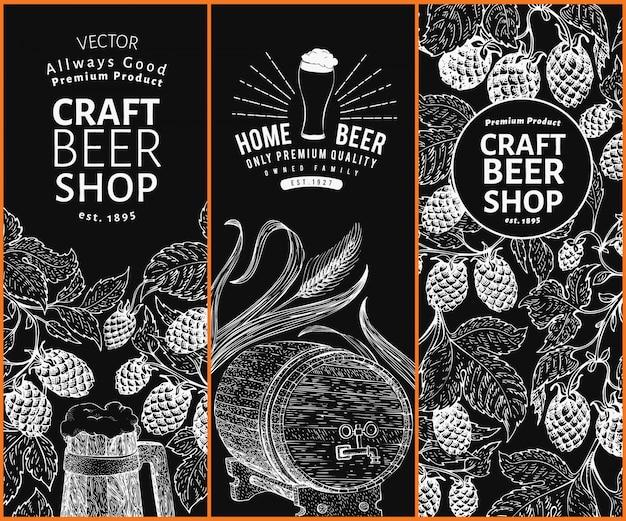 ビールホップのデザインテンプレート。ビンテージビールの背景。チョークボードにベクトル手描きホップイラスト。レトロなスタイルのバナーセット。 Premiumベクター