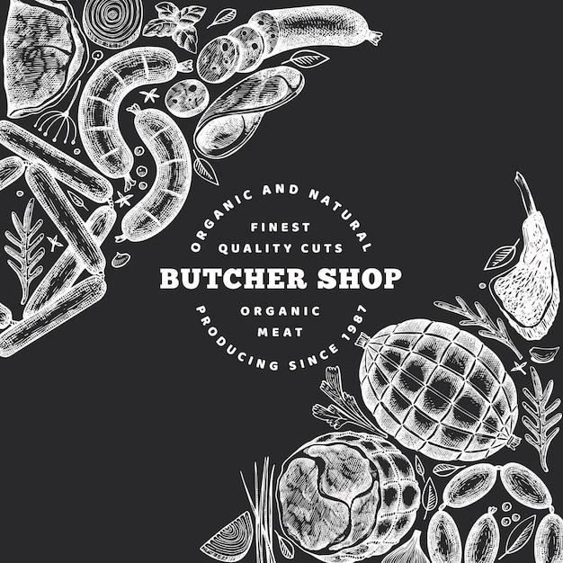 レトロなベクトル肉製品のデザイン。手描きハム、ソーセージ、スパイス、ハーブ。生の食材。チョークボード上のヴィンテージのイラスト。 Premiumベクター