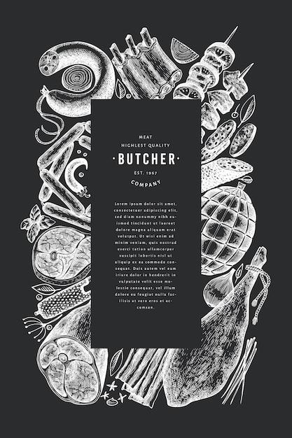 レトロなベクトル肉製品のデザインテンプレート。手描きハム、ソーセージ、スパイス、ハーブ。生の食材。チョークボード上のヴィンテージのイラスト。 Premiumベクター