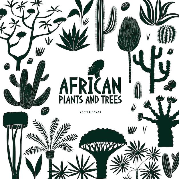 楽しい手描きのアフリカの植物や木々 Premiumベクター