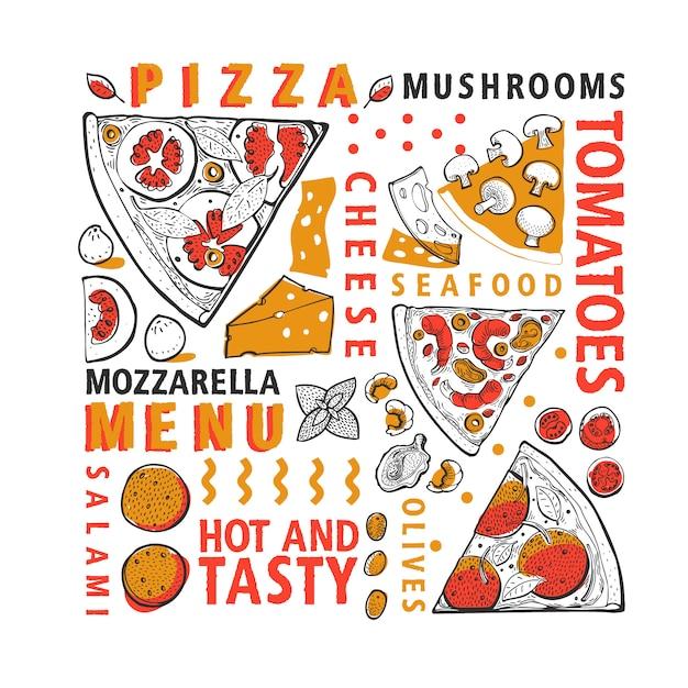 活版印刷のベクトルピザと食材のバナー Premiumベクター