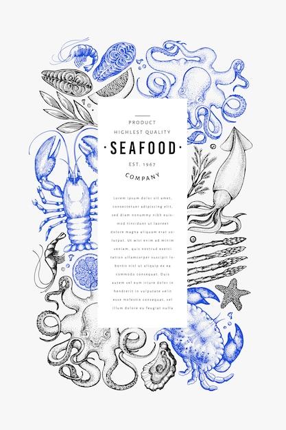 Шаблон оформления морепродуктов и рыбы Premium векторы