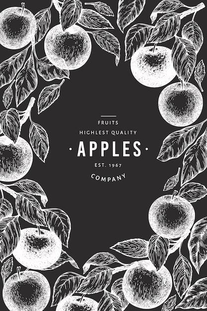 リンゴの枝のデザインテンプレート Premiumベクター