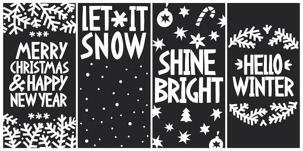 メリークリスマスと新年のグリーティングカードを設定します。 Premiumベクター