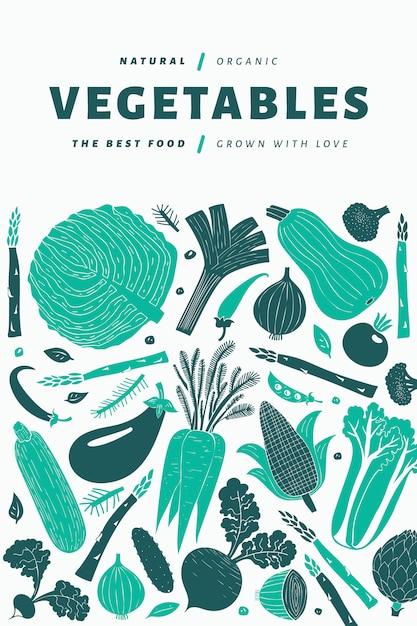 楽しい手描き野菜デザインテンプレート。 Premiumベクター