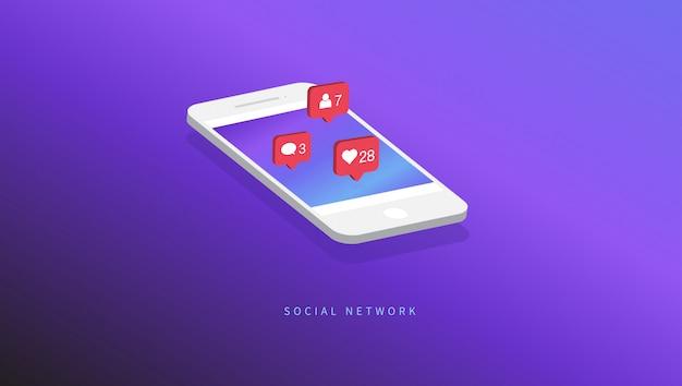 Значки уведомлений в социальных сетях Premium векторы