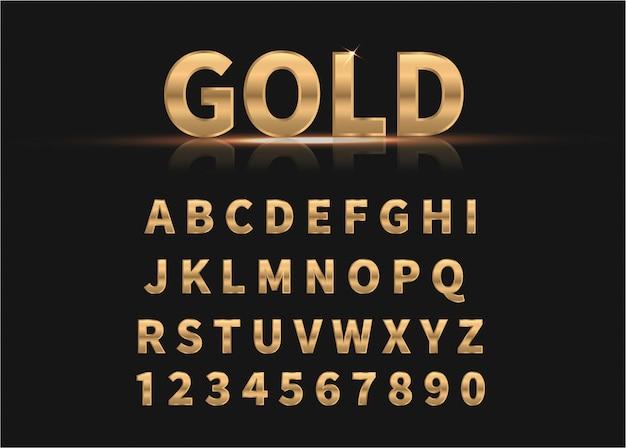 黄金のアルファベットと数字。 Premiumベクター