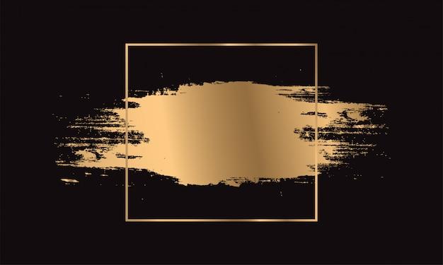 ゴールドペイントブラシストローク。ゴールデンフレーム。 Premiumベクター
