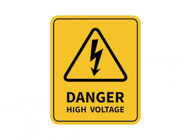 高電圧の危険があります。危険のサイン。 Premiumベクター