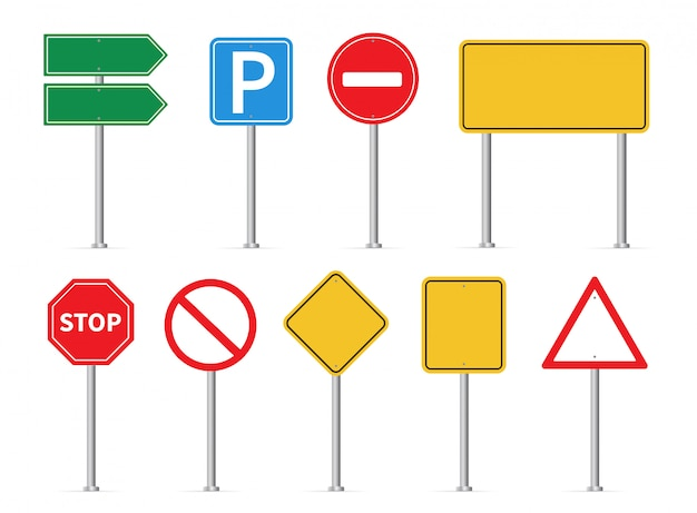 交通標識を設定します。道路標識 Premiumベクター