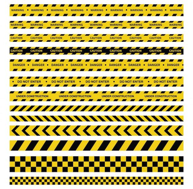 注意と危険のテープ。警告テープ黒と黄色の縞模様。 Premiumベクター