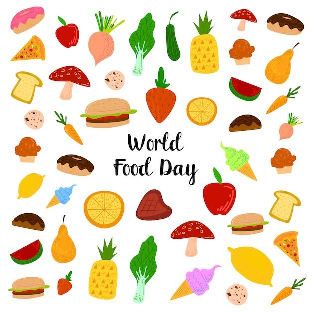 Всемирный день продовольствия с красочными фруктами, мясом и овощами Premium векторы