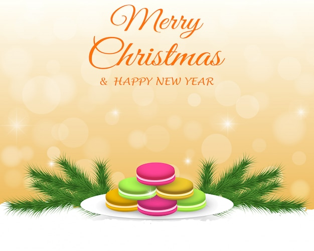 カラフルなマカロン、装飾とクリスマスの背景。 Premiumベクター