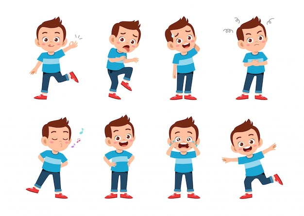 Милый мальчик со многими выражениями жестов Premium векторы