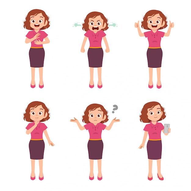 Подросток со многими выражениями жестов Premium векторы