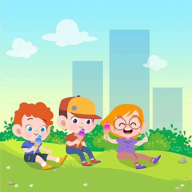 子供たちは公園のベクトル図でアイスクリームを遊ぶ Premiumベクター