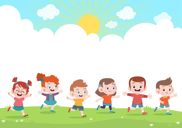 幸せな子供たちが一緒にベクトルイラスト Premiumベクター