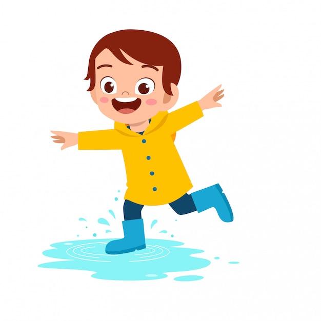 幸せなかわいい子供男の子プレイ着用レインコートイラスト Premiumベクター