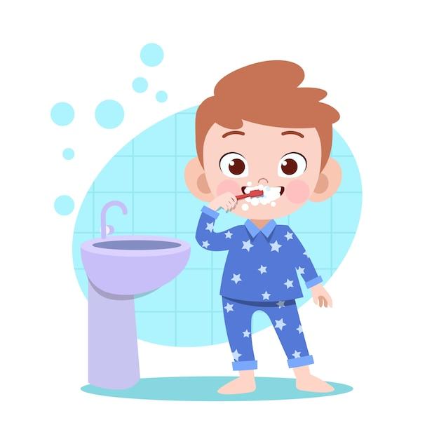 子供男の子ブラッシング歯ベクトルイラスト Premiumベクター