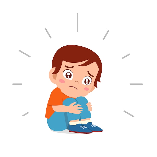 Милый грустный малыш мальчик сидит в одиночестве напуган Premium векторы