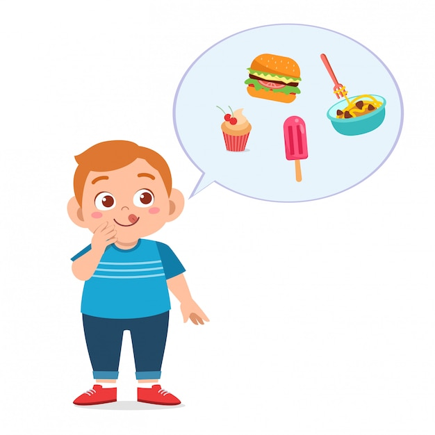 Милый толстый мальчик ест нездоровую пищу Premium векторы
