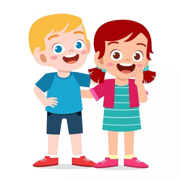 幸せなかわいい子供たちの男の子と女の子が一緒に抱擁します。 Premiumベクター