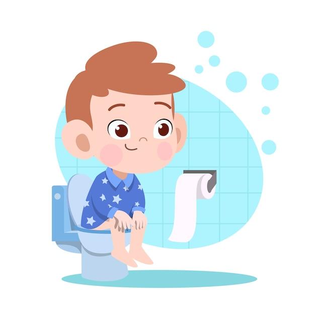 子供の少年がトイレの図でうんち Premiumベクター