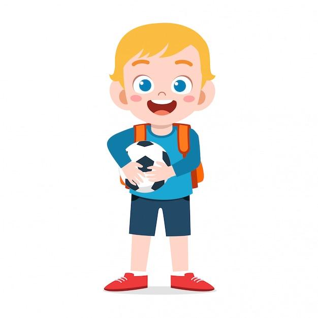 Счастливый милый малыш мальчик готов пойти в школу Premium векторы