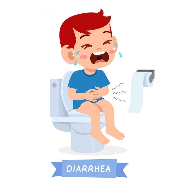 悲しい子供少年はトイレで泣く Premiumベクター