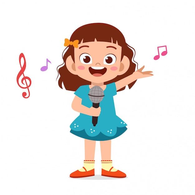 幸せなかわいい子供の女の子が歌を歌う Premiumベクター