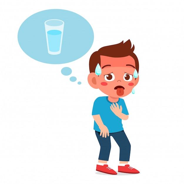 幸せなかわいい子供男の子はとてものどが渇いています Premiumベクター