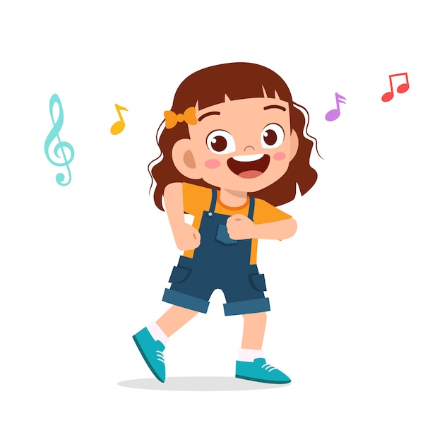 Счастливый милый малыш девушка танцует с музыкой Premium векторы