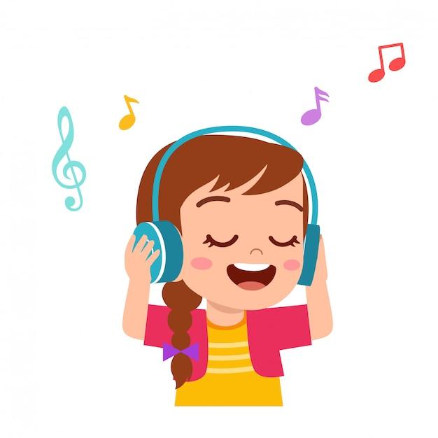 Счастливый милый парень девушка слушать хорошую музыку Premium векторы