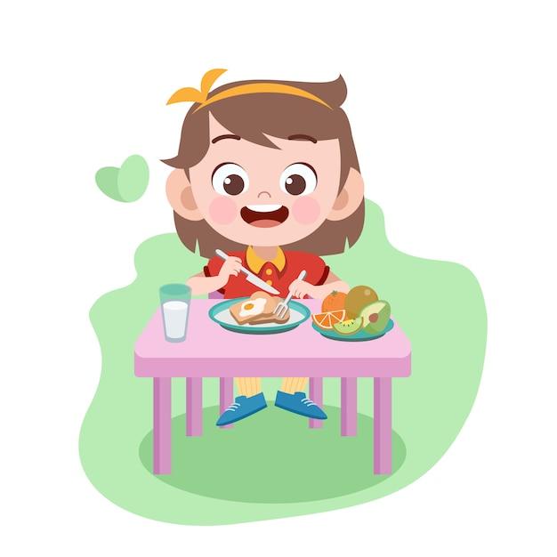 子供女の子食べるイラスト Premiumベクター