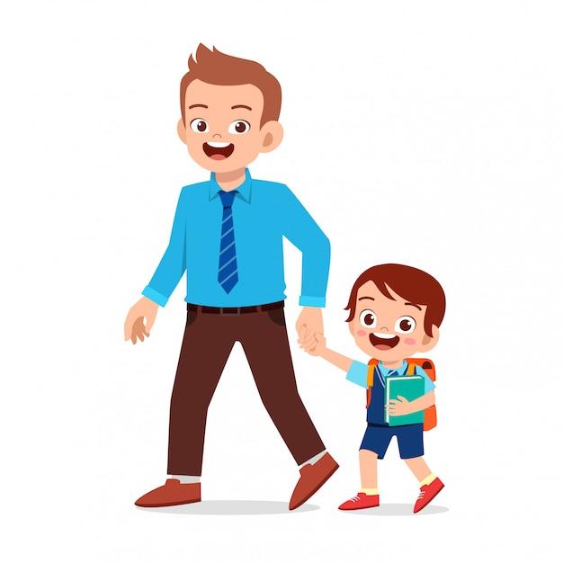 Счастливый милый малыш мальчик первый день в школе с отцом Premium векторы