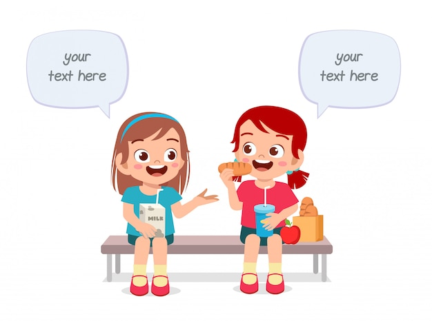 幸せなかわいい子供男の子と女の子が一緒に食べる Premiumベクター