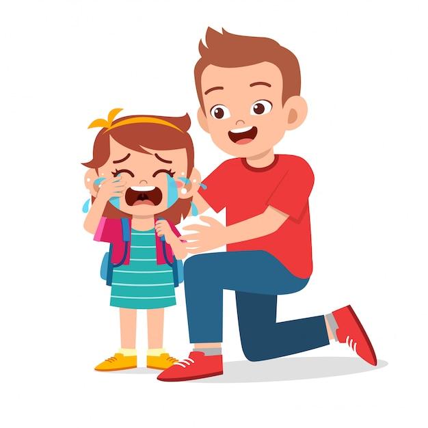 Грустная плачущая девочка с улыбкой отца Premium векторы