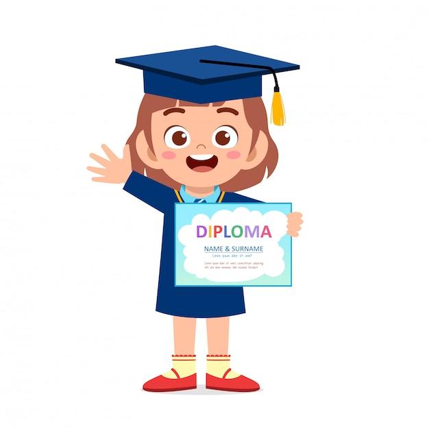 Счастливый милый маленький ребенок девочка выпускник школы Premium векторы