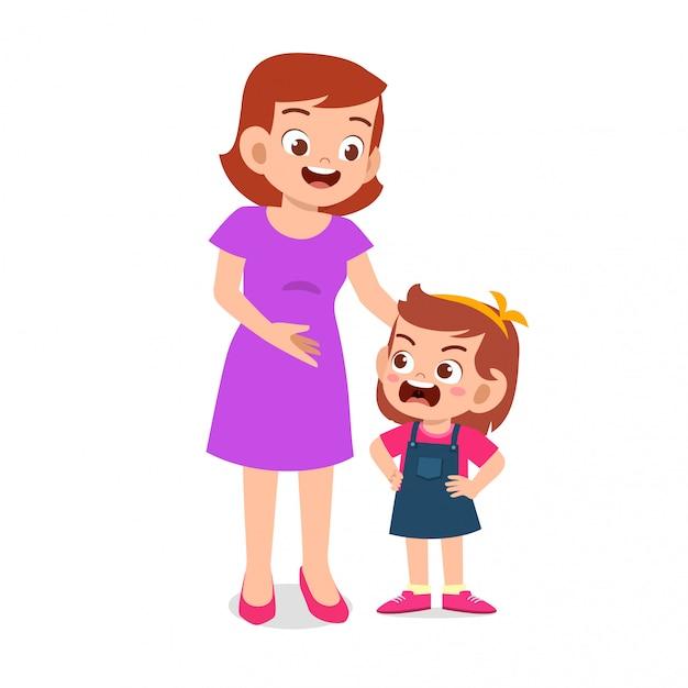 ママは彼女の怒っている子供の女の子と話をしよう Premiumベクター