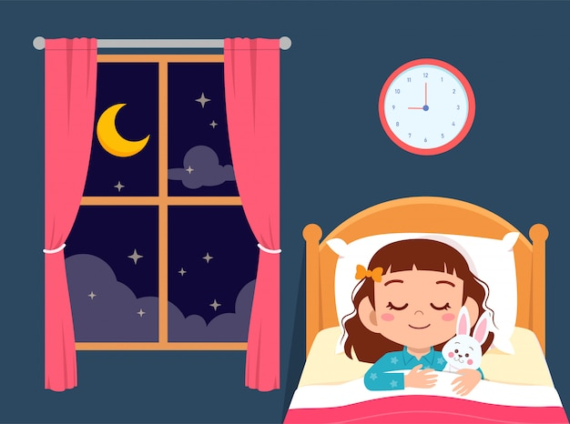 ベッドの部屋で幸せなかわいい女の子睡眠 Premiumベクター