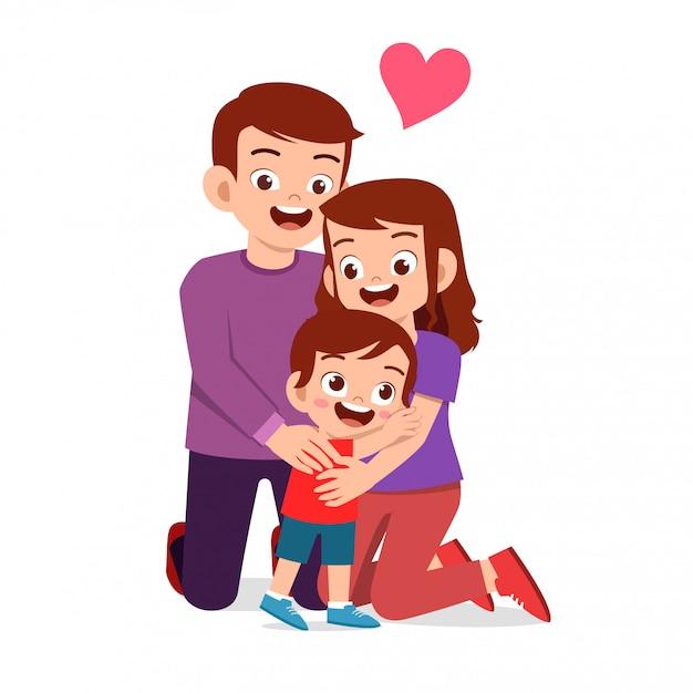 ママとパパと幸せなかわいい子供男の子 Premiumベクター